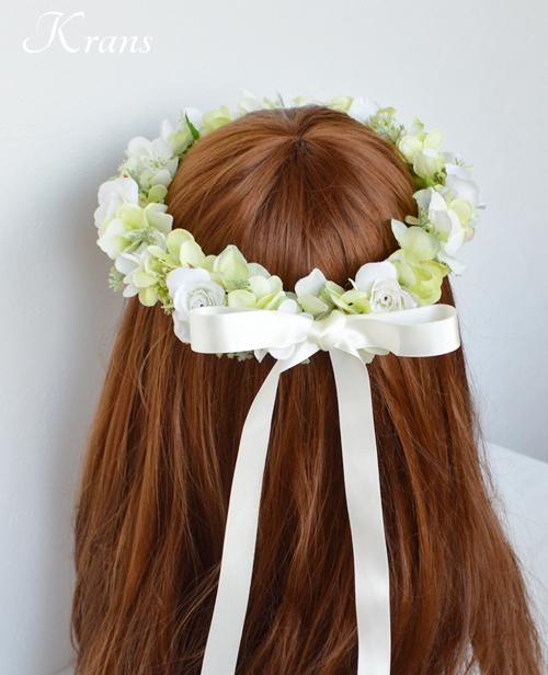 グリーンとホワイトのナチュラル結婚式花冠6