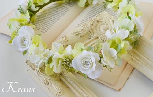 グリーンとホワイトのナチュラル結婚式花冠1
