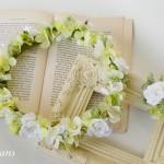 ナチュラルウェディング花冠グリーンホワイトローズ