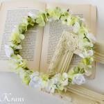 グリーンとホワイトのナチュラル結婚式花冠