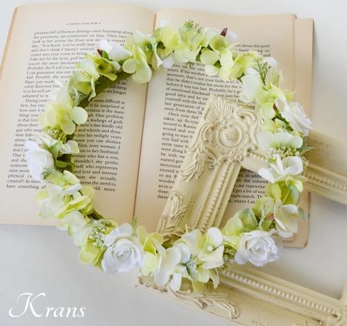グリーンとホワイトのナチュラル花冠