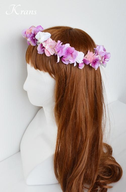 ピンクパープル結婚式花かんむり5