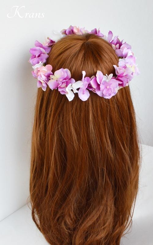 ピンクパープル結婚式花かんむり6
