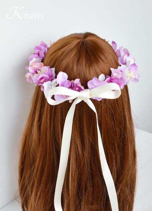 ピンクパープル結婚式花かんむり7