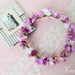 結婚式におすすめピンクパープルのあじさい花冠