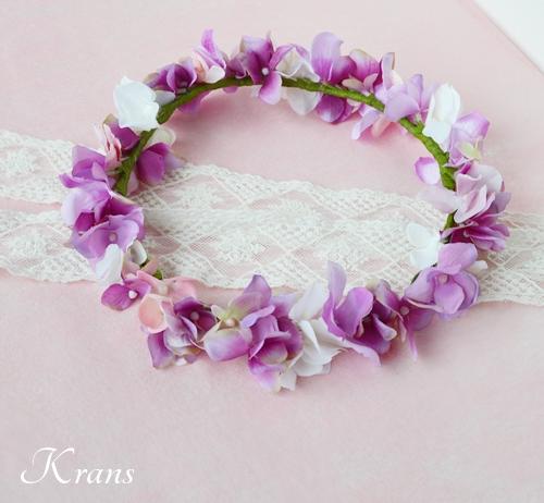 ピンクパープル結婚式花かんむり2