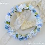 エレガントブルーのウェディング花冠