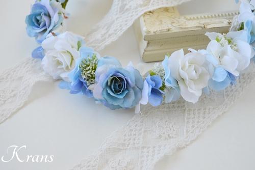 ブルー青い結婚式花冠2