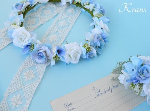 ブルー青い結婚式花冠8