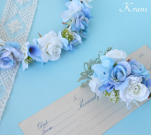 ブルー青い結婚式花冠9