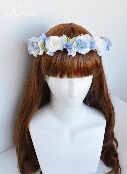 ブルー青い結婚式花冠3