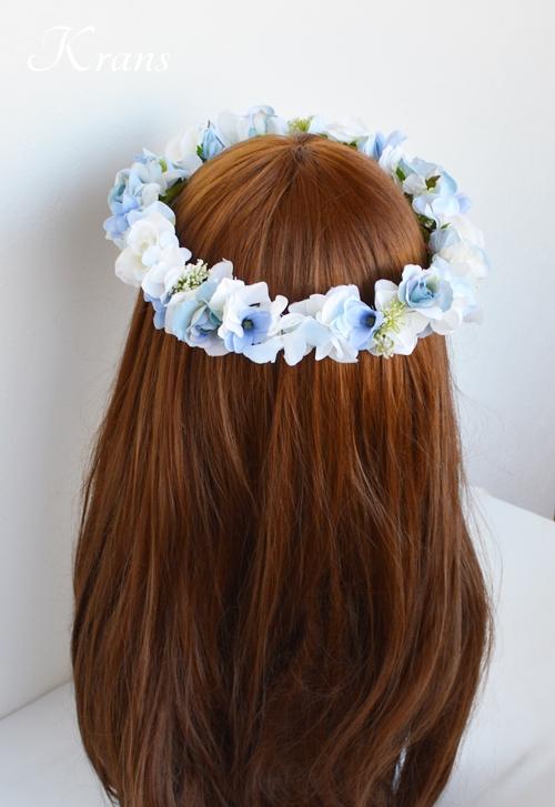 ブルー青い結婚式花冠6