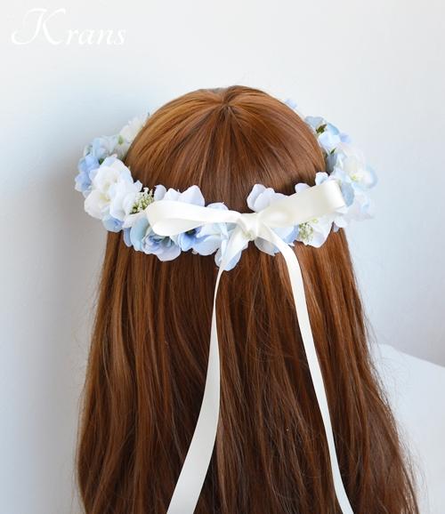 ブルー青い結婚式花冠7