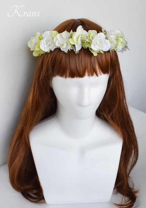 グリーンとホワイトのナチュラル結婚式花冠2