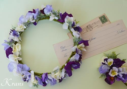 結婚式パープル花かんむり