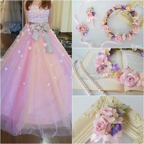 結婚式ピンクコーディネート、ピンク花冠