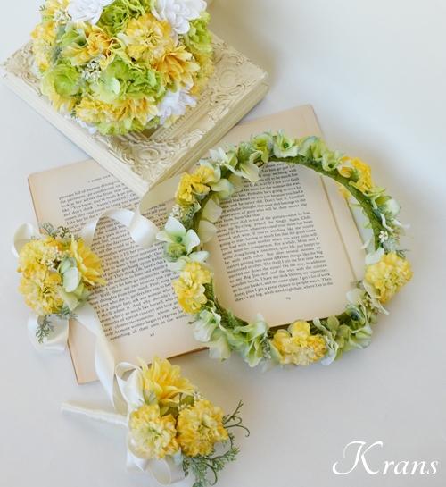 黄色結婚式花冠2