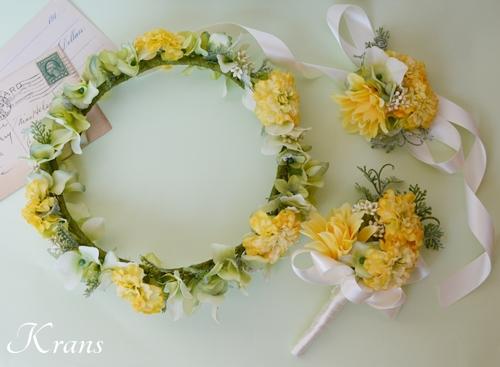 黄色結婚式花冠5