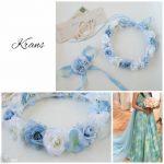 花嫁青いドレスと花冠のコーディネート