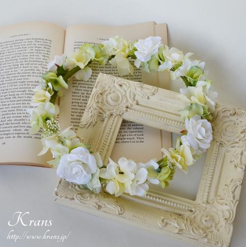 ホワイト白い結婚式花冠1