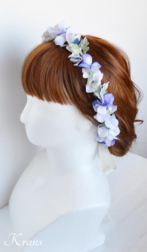 青いウェディング花かんむり1