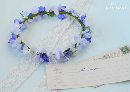 フェアリーブルー青いブルーウェディング花冠