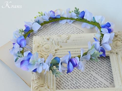 フェアリーブルー結婚式花冠ヘアスタイル