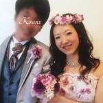 ピンクパープル結婚式花冠、Krans口コミ