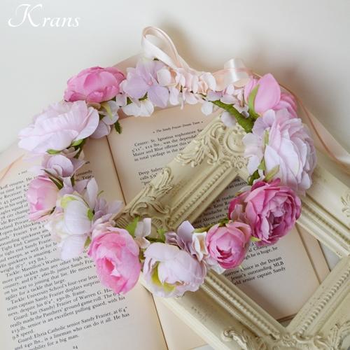 ピンク結婚式花冠2