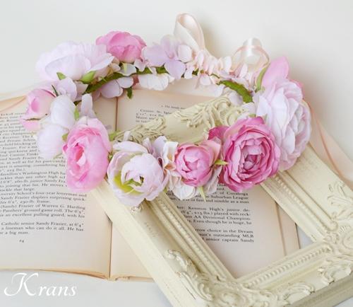 ピンク結婚式花冠1