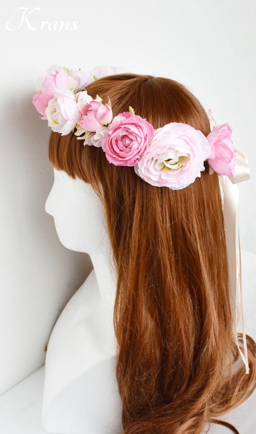 ピンク結婚式花冠5
