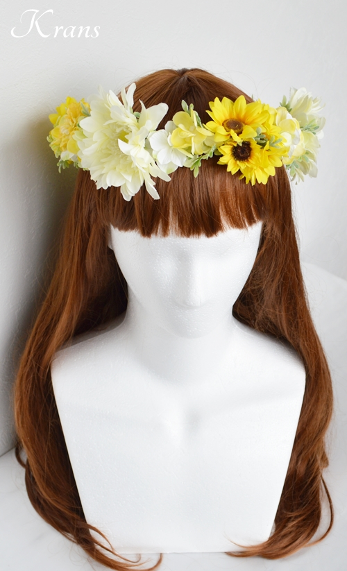 ひまわりとガーベラ黄色い花冠5