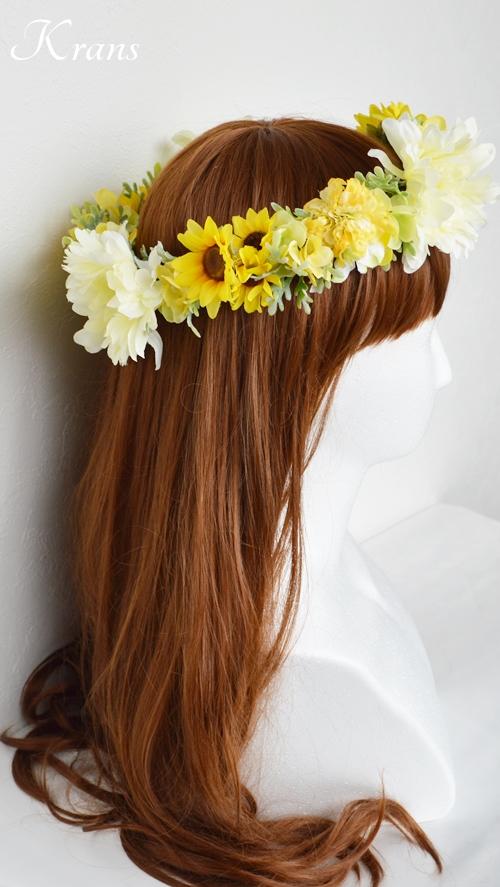ひまわりとガーベラ黄色い花冠6