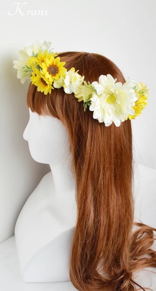 ひまわりとガーベラ黄色い花冠7