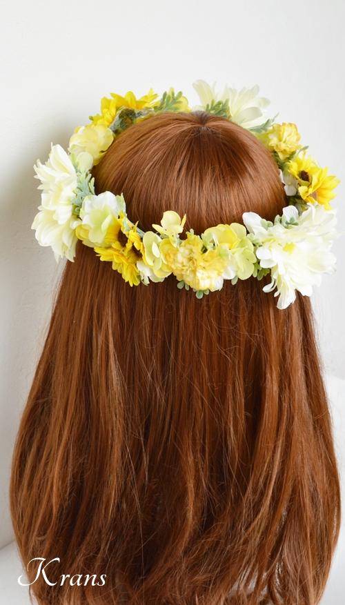 ひまわりとガーベラ黄色い花冠8