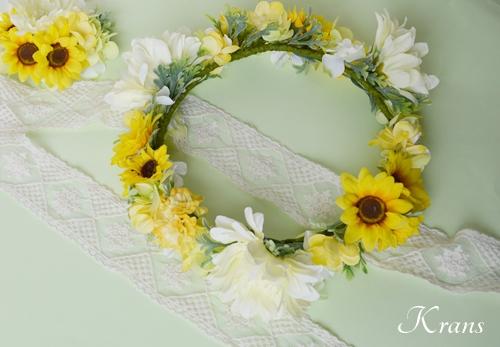 ひまわりとガーベラ黄色い花冠10