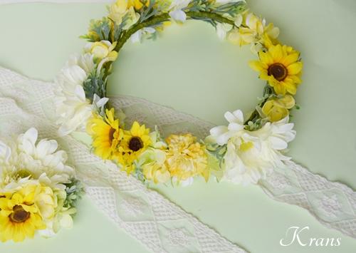 ひまわりとガーベラ黄色い花冠11