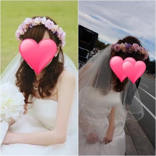 結婚式花冠、ウェディング花冠、ピンクの花冠、