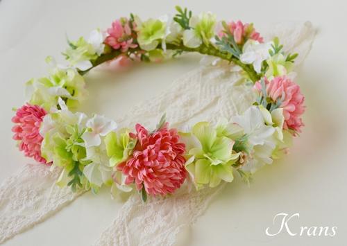 和装結婚式ピンク花冠1
