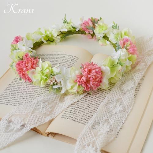 和装結婚式ピンク花冠2