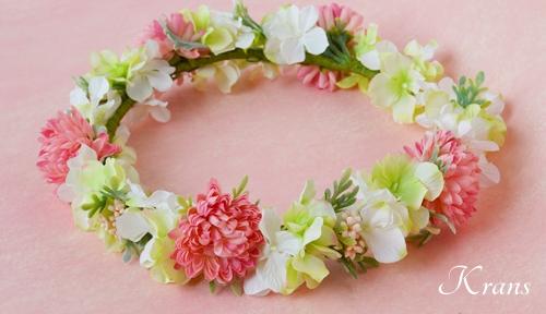 和装結婚式ピンク花冠8