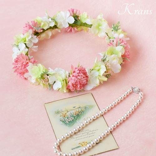 和装結婚式ピンク花冠9