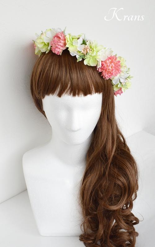 和装結婚式ピンク花冠4