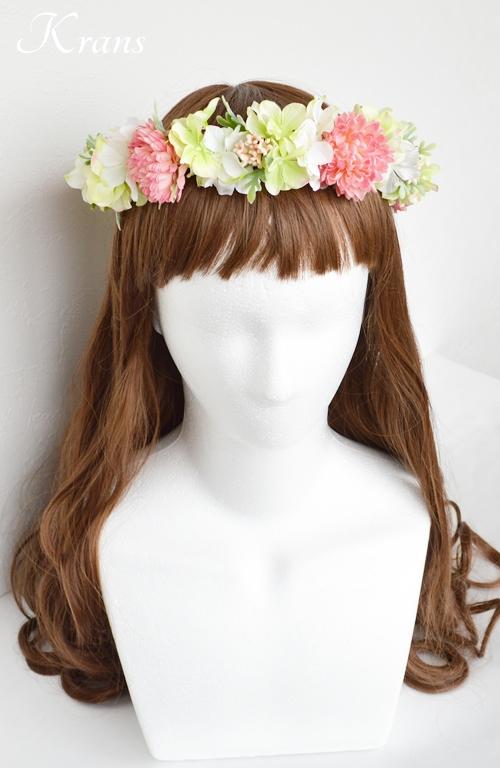 和装結婚式ピンク花冠3