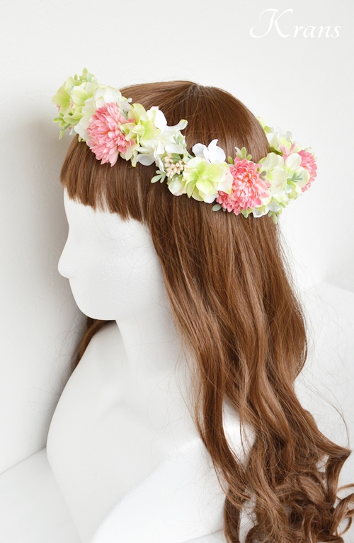 和装結婚式ピンク花冠5