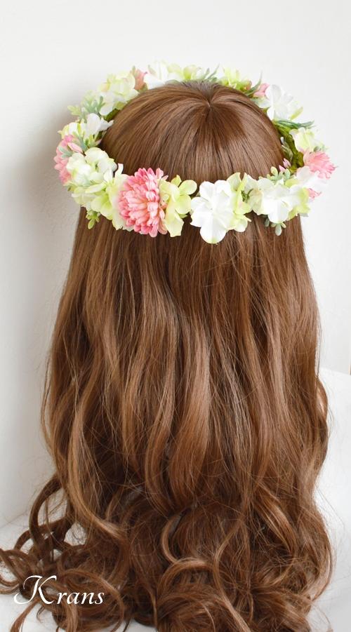 和装結婚式ピンク花冠6