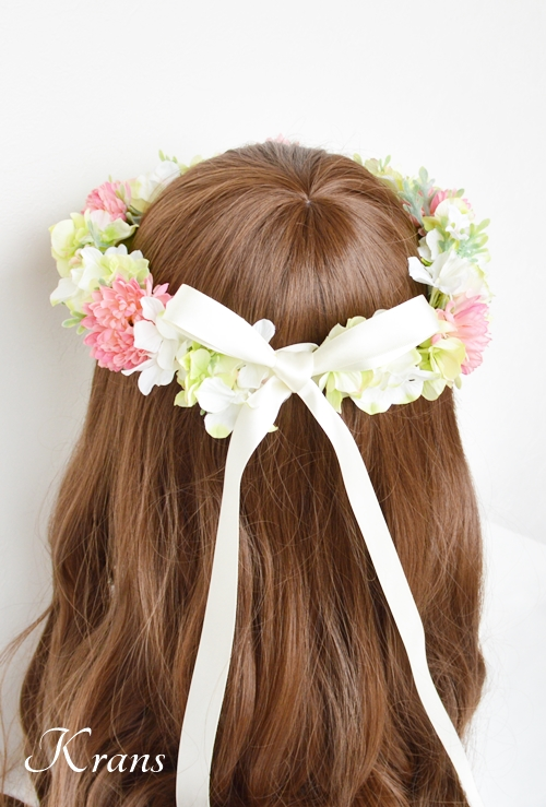 和装結婚式ピンク花冠7