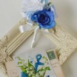 青いウェディング花冠4