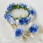 【オーダー】シンデレラカラードレスに似合うブルーローズの花冠