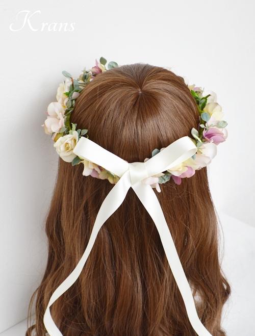 ナチュラルアンティーク結婚式花冠8
